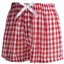 Northwest Blue Lounge Shorts - Lightweight Cotton (For Women) in Red Check - Closeouts