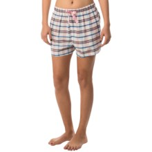Northwest Blue Lounge Shorts - Lightweight Cotton (For Women) in White/Blue/Pink Plaid - Closeouts