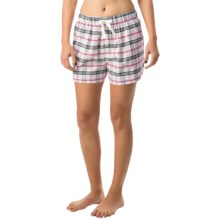 Northwest Blue Lounge Shorts - Lightweight Cotton (For Women) in White/Pink Plaid - Closeouts