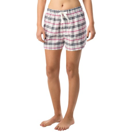 Northwest Blue Lounge Shorts - Lightweight Cotton (For Women) in White/Pink Plaid