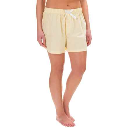 Northwest Blue Lounge Shorts - Lightweight Cotton (For Women) in Yellow Check - Closeouts