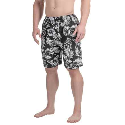 Northwest Blue Printed Swim Trunks (For Men) in Black/White Floral Print - 2nds