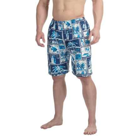 Northwest Blue Printed Swim Trunks (For Men) in Navy/White Seaside Print - 2nds