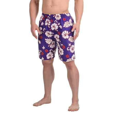 Northwest Blue Printed Swim Trunks (For Men) in Purple/White Lotus Print - 2nds