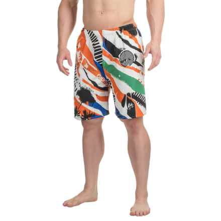 Northwest Blue Printed Swim Trunks (For Men) in White/Orange Multi - 2nds