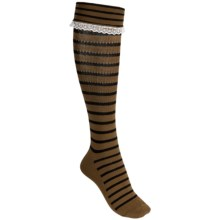 Nouvella Cotton Stripe Socks - Over-the-Calf (For Women) in Camel - Closeouts