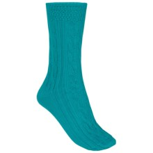Nouvella Pima Cotton Cable-Knit Socks - Crew (For Women) in Teal - Closeouts