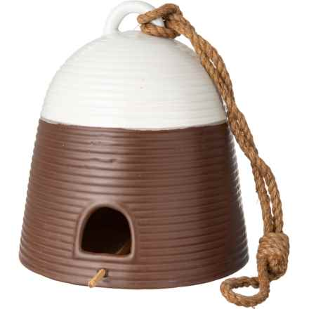 "Novogratz Big Ceramic Earthenware Birdhouse - 10"", White-Brown in White/Brown - Closeouts"