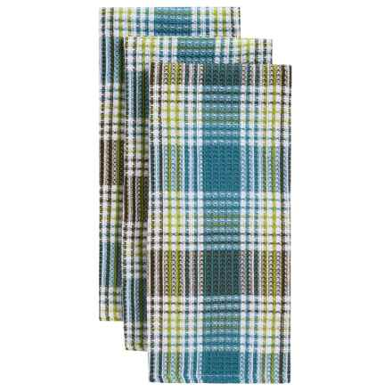 Now Designs Cabin Stripe Waffle Kitchen Towels - 3-Pack in Blue/Brown/Olive - Closeouts