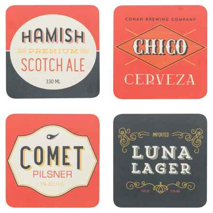 Now Designs Cork-Backed Coasters - Set of 4 in Beer Labels - Closeouts