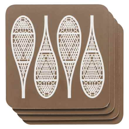 Now Designs Cork-Backed Coasters - Set of 4 in Snowshoes - Closeouts