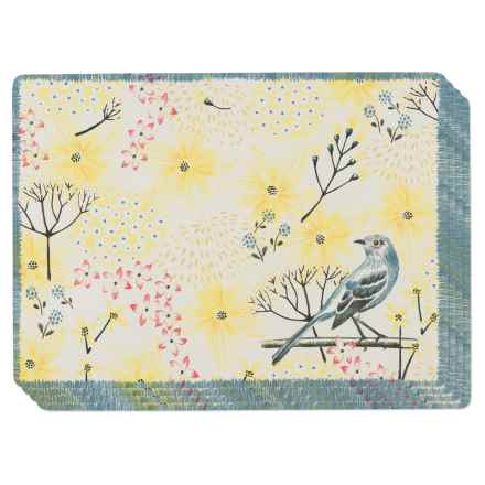Now Designs Cork-Backed Mockingbird Placemats - Set of 4 in Beige/Yellow - Closeouts