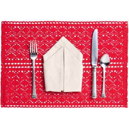 Now Designs Crocheted Cotton Placemat in Red - Closeouts