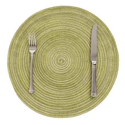 Now Designs Galaxie Woven Placemat - Round in Green - Closeouts