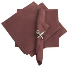 Now Designs Hemstitch Napkins - Linen-Cotton, Set of 4 in Chocolate - Closeouts