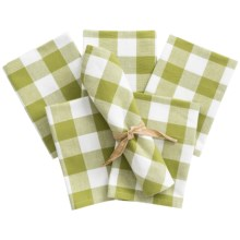 Now Designs Picnic Check Cloth Napkins - Set of 6 in Cactus - Closeouts