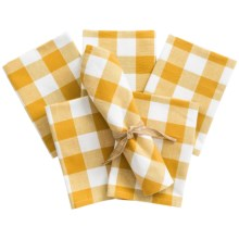 Now Designs Picnic Check Cloth Napkins - Set of 6 in Sunflower - Closeouts
