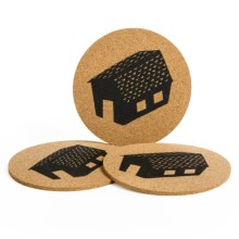 Now Designs Printed Cork Trivets - Set of 3 in Village - Closeouts