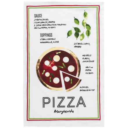 Now Designs Printed Cotton Tea Towel in Pizza Recipe Print - Closeouts