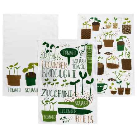 Now Designs Printed Dish Towels - Set of 3 in Green Thumb Print - Closeouts