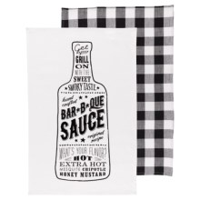 Now Designs Printed Tea Towels - Set of 2 in Bbq Sauce - Closeouts