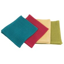 Now Designs Waffle Weave Dish Cloths - Set of 4 in Red/Peacock/Cactus/Buttercup - Closeouts