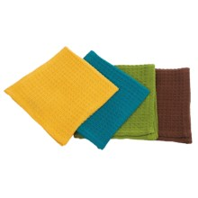 Now Designs Waffle Weave Dish Cloths - Set of 4 in Yellow, Green, Blue, Brown - Closeouts
