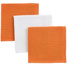 Now Designs Waffle Weave Dishcloths - Set of 3 in Kumquat & White - Closeouts
