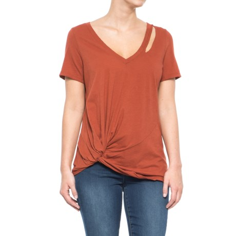 n:Philanthropy Calico Twist T-Shirt - V-Neck, Short Sleeve (For Women) in Rust