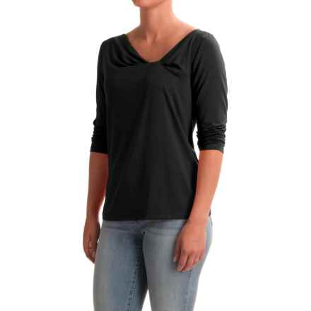 NTCO Between the Lines Knotty Shirt - Stretch Rayon, 3/4 Sleeve (For Women) in Black - Closeouts