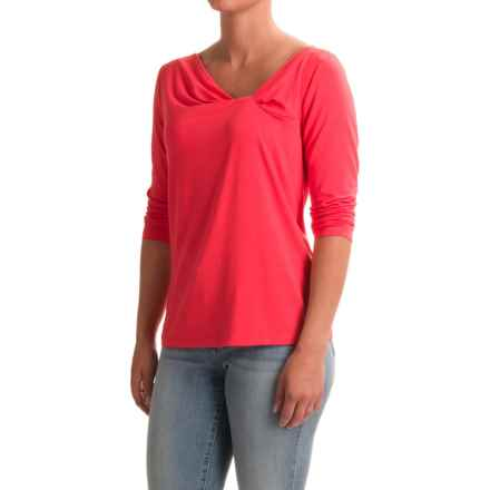 NTCO Between the Lines Knotty Shirt - Stretch Rayon, 3/4 Sleeve (For Women) in Calypso - Closeouts
