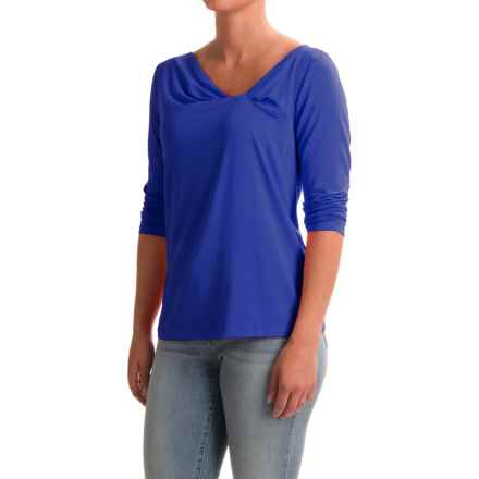 NTCO Between the Lines Knotty Shirt - Stretch Rayon, 3/4 Sleeve (For Women) in Royal - Closeouts