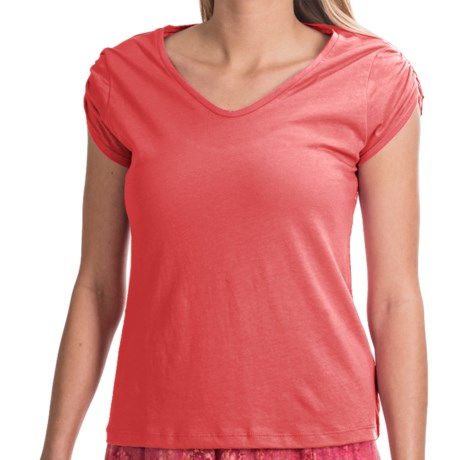 NTCO Buena Vista Pima Cotton Shirt - Ruched Short Sleeve (For Women) in Guava