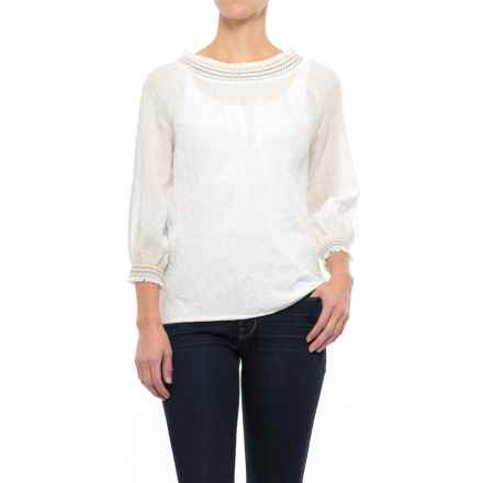 NTCO Dobby Peasant Top - Long Sleeve (For Women) in Ivory - Closeouts