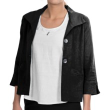 NTCO Kyoto Crop Jacket - Linen Blend, 3/4 Sleeve (For Women) in Black - Closeouts