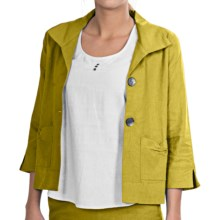 NTCO Kyoto Crop Jacket - Linen Blend, 3/4 Sleeve (For Women) in Citron - Closeouts