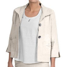NTCO Kyoto Crop Jacket - Linen Blend, 3/4 Sleeve (For Women) in Off White - Closeouts