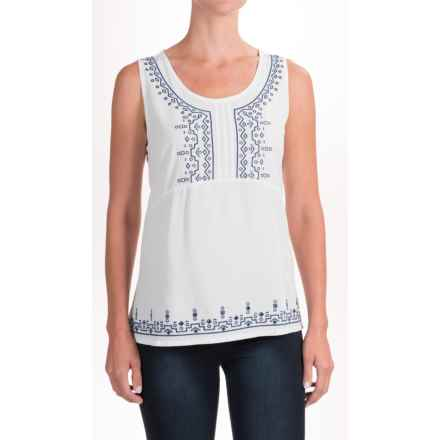 NTCO Mia Embroidered Shirt - Sleeveless (For Women) in White/Navy - Closeouts