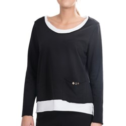 NTCO Noma Playa Shirt - Stretch Cotton French Terry, Long Sleeve (For Women) in Black/White