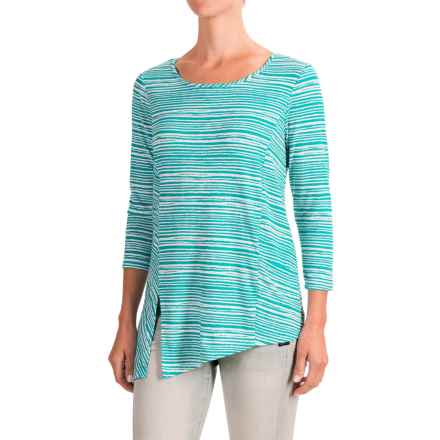 NTCO Riviera Tunic Shirt - Stretch Rayon, Long Sleeve (For Women) in Jade Stripe - Closeouts