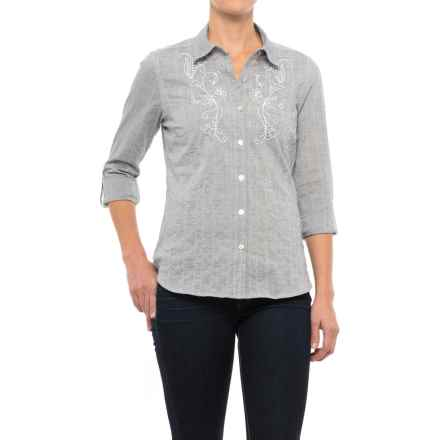 NTCO Santiago Crinkle Cotton Shirt - Long Sleeve (For Women) in Sky/Silver - Closeouts