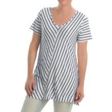 NTCO Ship & Shore Laurel Tunic Shirt - Stretch Rayon, Short Sleeve (For Women) in Navy - Closeouts