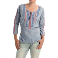 NTCO Signature Whites Santorini Shirt - 3/4 Sleeve (For Women) in Chambray - Closeouts