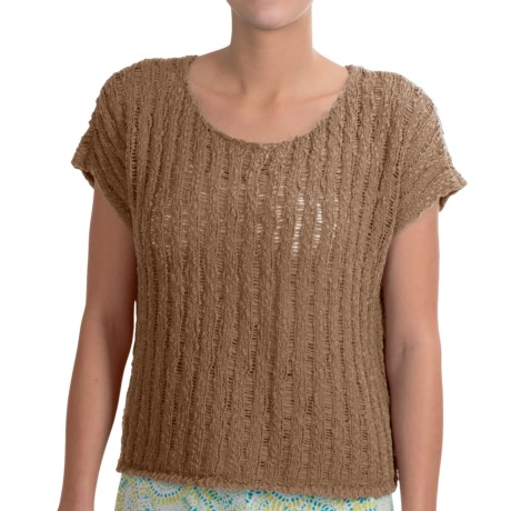 NTCO Tape Yarn Ryco Sweater Shirt - Short Sleeve (For Women) in Taupe