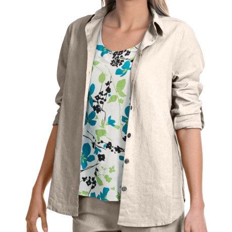 NTCO Veranda Weekend Tunic Shirt - Rayon-Linen, Long Sleeve (For Women) in Off White