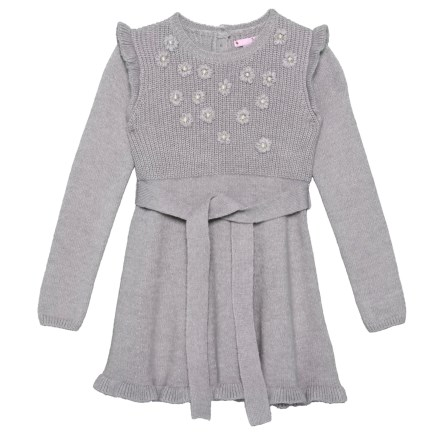 7f6318a872d Nula Bug Sweater Dress with Embroidered Flowers - Long Sleeve (For Toddler  Girls) in