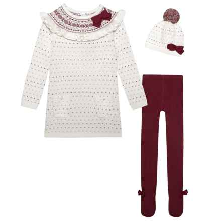Nula Bug Sweater-Knit Dress with Leggings and Beanie - Long Sleeve (For Little Girls) in Cream - Closeouts