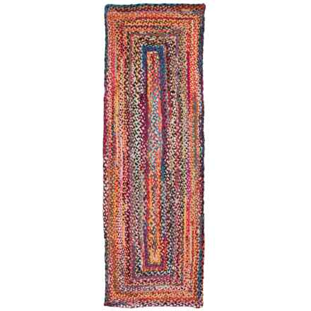 nuLOOM Handmade Braided Bohemian Floor Runner - 2x8', Cotton in Multi - Closeouts