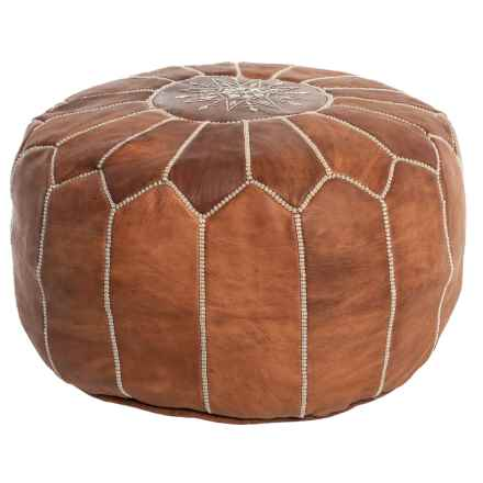 """nuLOOM Handstitched Brown Leather Pouf - 14x20"""" in Brown - Closeouts"""