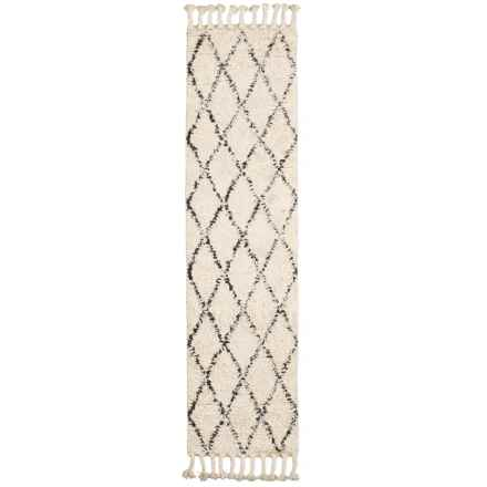 nuLOOM Moroccan Shag Floor Runner with Tassels - 2x8', Wool in Natural - Closeouts
